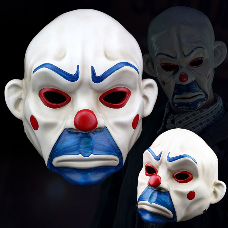 Adult Bank Robber Clown Mask Dark Knight Costumes Halloween Masquerade Party Resin Mask