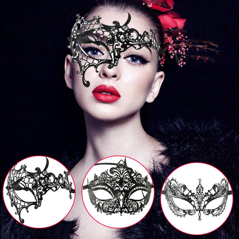 Halloween Masquerade Princess Mask With Artificial Diamond Cosplay Half Face Mask