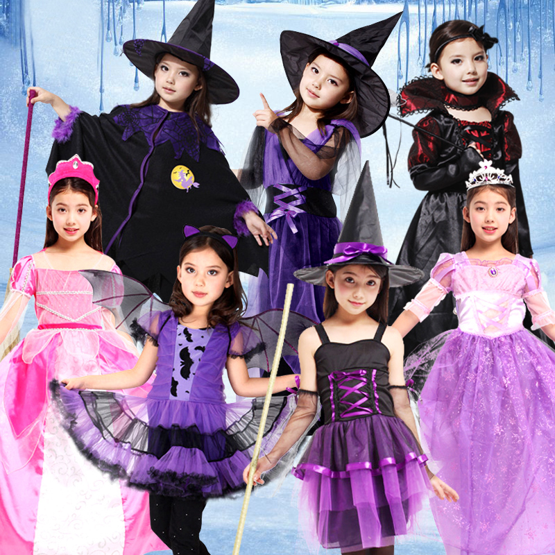 Children Girls Princess Vampire Witch Costumes Children's Day Halloween Costume For Kids Dress Carnival Party Cosplay