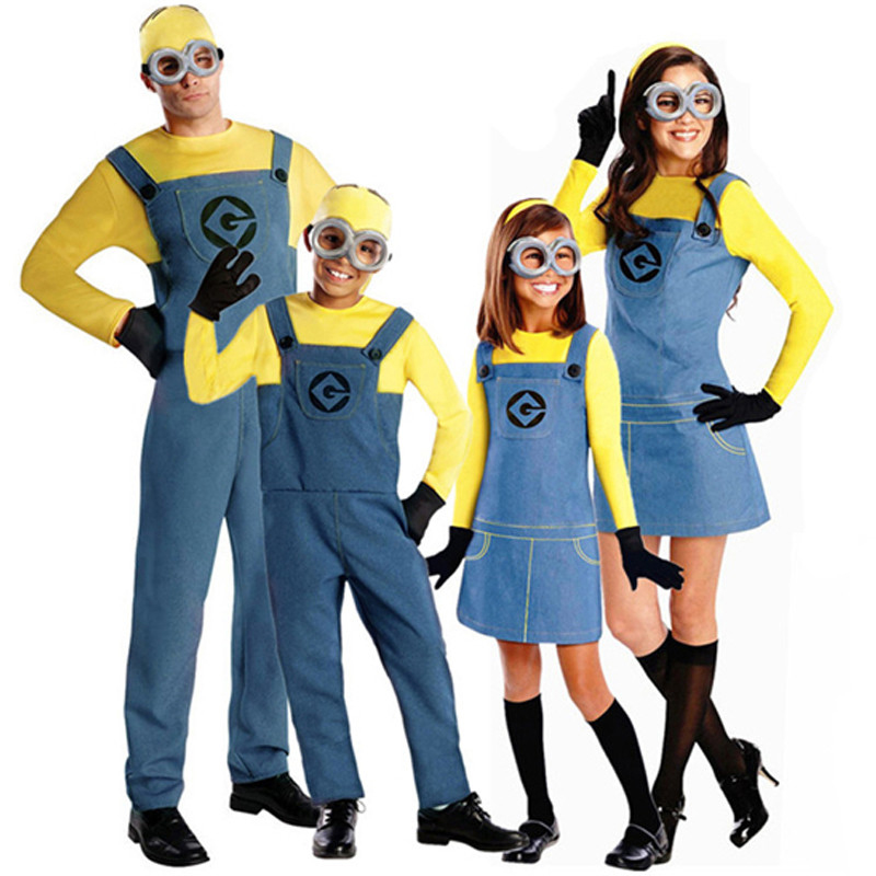 Minion Jumpsuit Halloween Anime Despicable Me Costumes Suits Boys/Girls Kids/Adult Cosplay Clothes