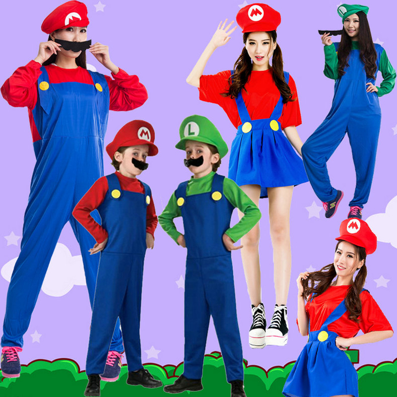 Super Mario Bro Costumes Suit Halloween Party Cosplay Clothes For Kid/Adults