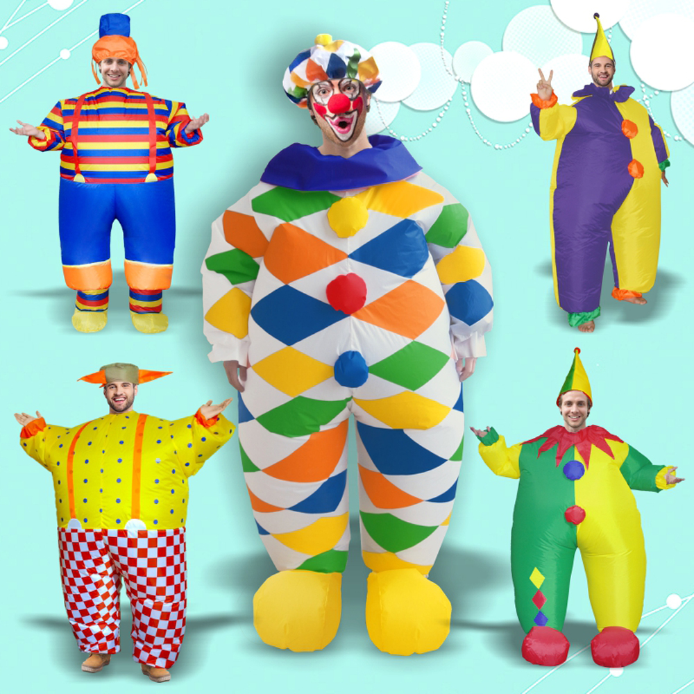 Halloween Adults Inflatable Cartoon Clown Costumes Stage Party Cosplay Clothes