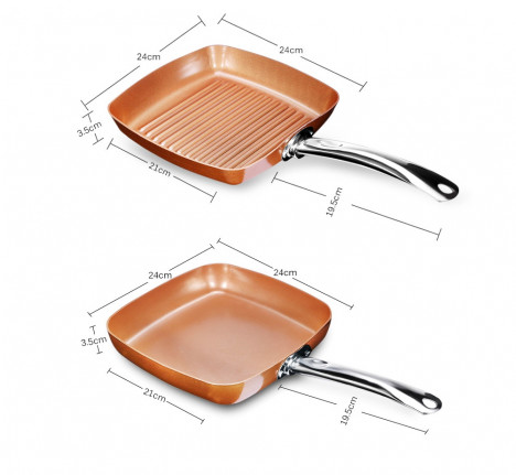 2pcs Non-stick Copper Frying Pans Square Griddles Skillets