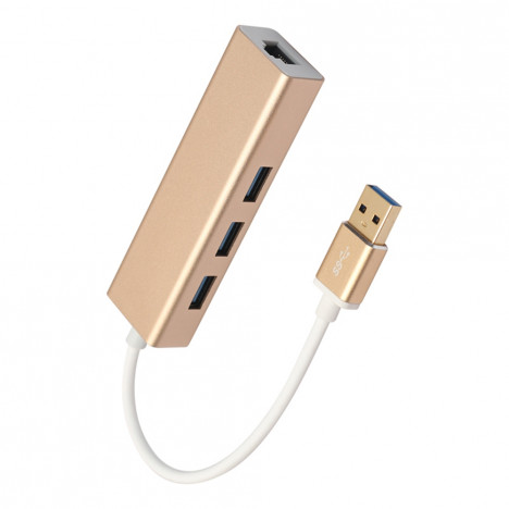 USB 3.0 to 3 Port USB 3.0 HUB with RJ45 Gigabit 100Mbit  Ethernet Aluminum