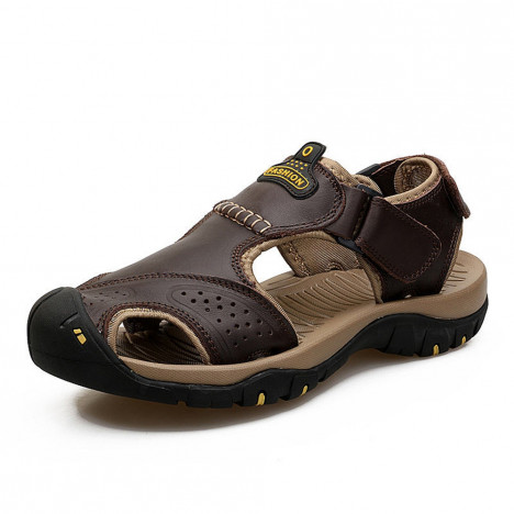 Men Summer Sandals Genuine Leather Casual Shoes Man Style Beach DEEP COFFEE EU 43