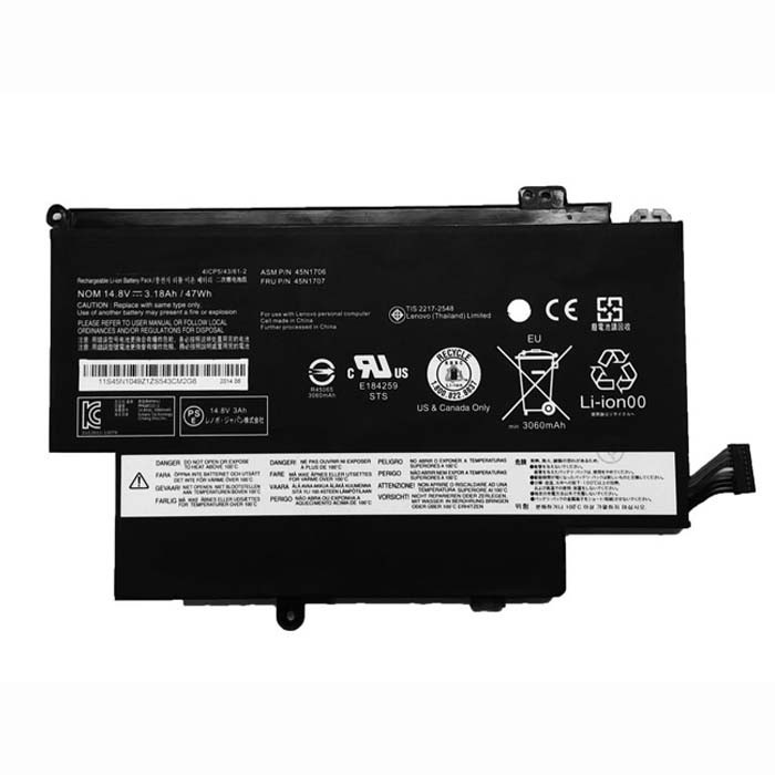 45N1704 45N1705 45N1706 45N1707 Battery 3180mAh/47WH 14.8V Pack for Lenovo Thinkpad 12.5