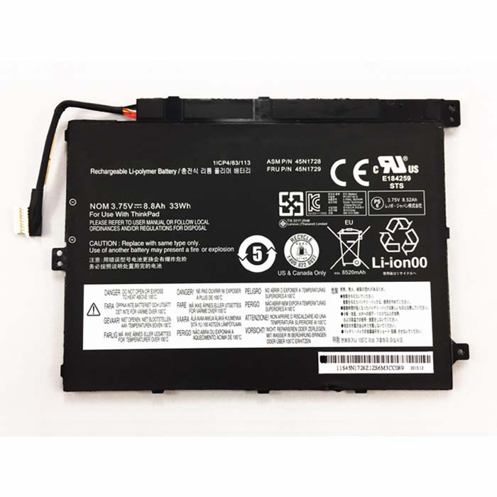 45N1727 Battery 33Wh 3.75V Pack for Lenovo ThinkPad Tablet 10