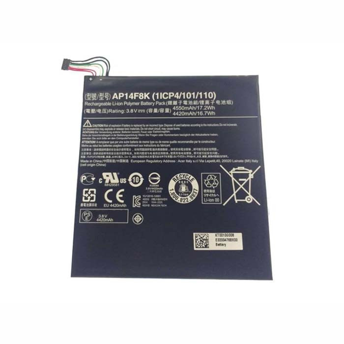 AP14F8K Battery 4550mAh/17.2Wh 3.8V Pack for Acer Iconia Tab A1-850 B1-810 B1-820 W1-810