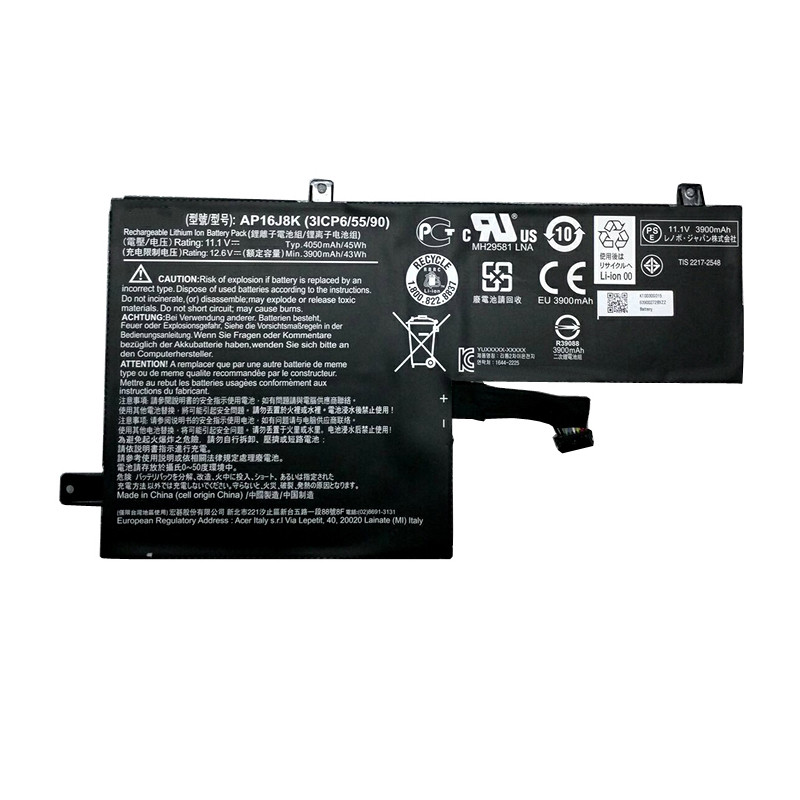AP16J8K Battery 4050mah 11.1V Pack for Acer AP16J8K 3ICP6/55/90 series