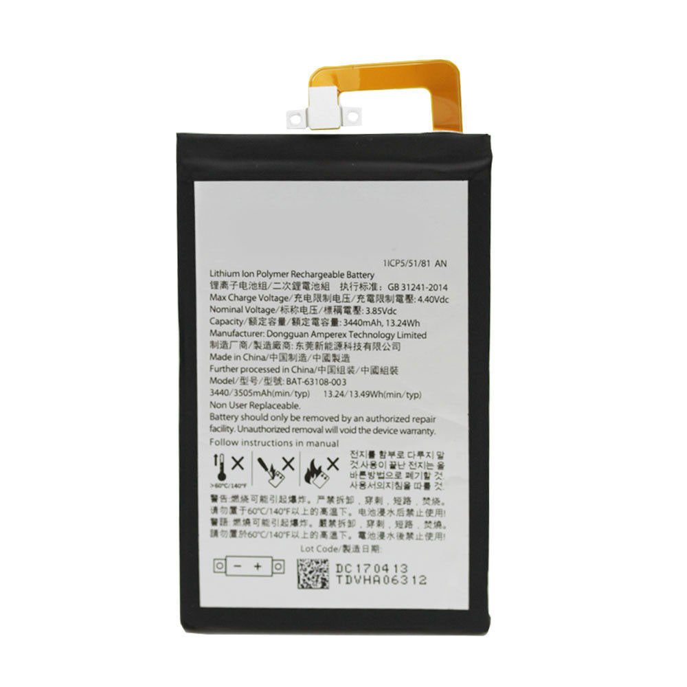 BAT-63108-003 Battery 3440 mAh 13.24Wh 3.85 V Pack for Blackberry Keyone DTEK70 DK70