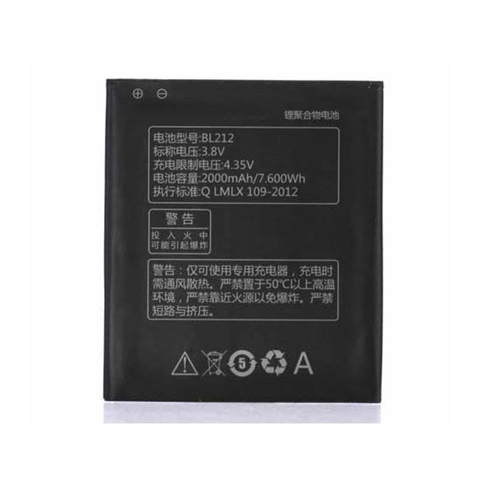 BL212 Battery 2000mAh/7.60wh 3.8V Pack for Lenovo Golden Warrior S8 S898T+ A708T A628T A620T