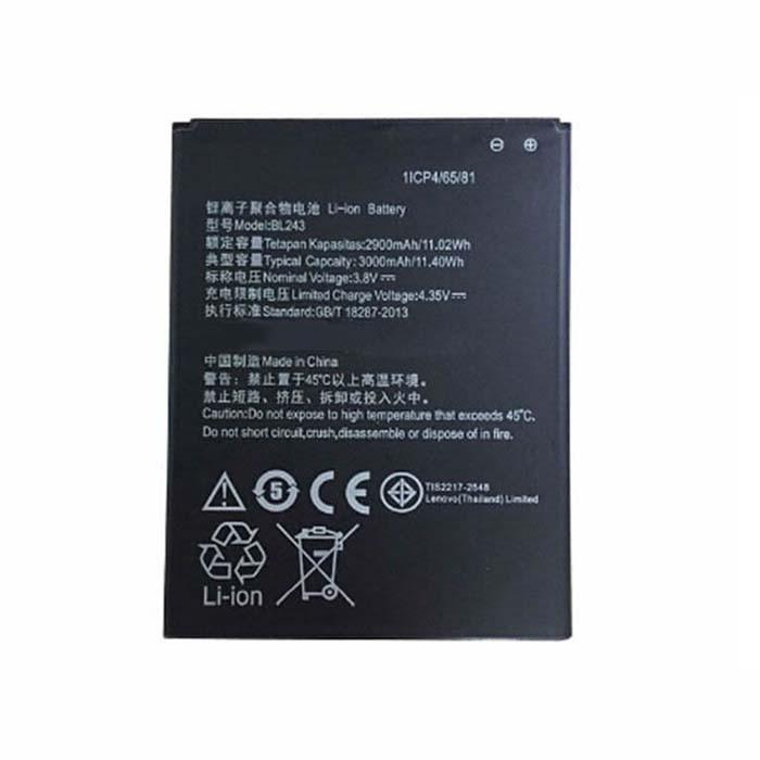 BL243 Battery 2900-3000mAh/11.02-11.40Wh 3.8V Pack for lenovo a7000 lenovo k50 k50t