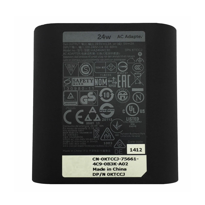DELL  DA24NM130 AC Adapter for Dell Venue 7 8 10 11 Pro Tablet 19.5V 1.2A 24W or 5.0V 2.0A