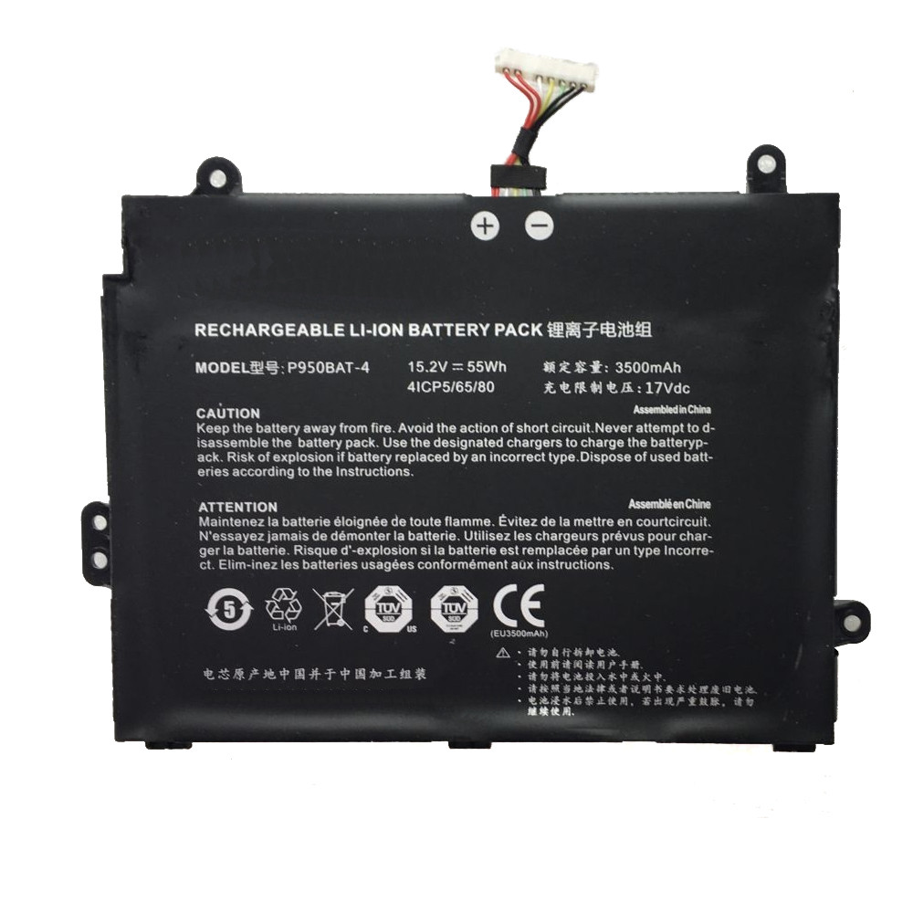 Rechargeable LI-ION Battery 55Wh / 3500mAh 15.2V Pack for Clevo P950BAT-4