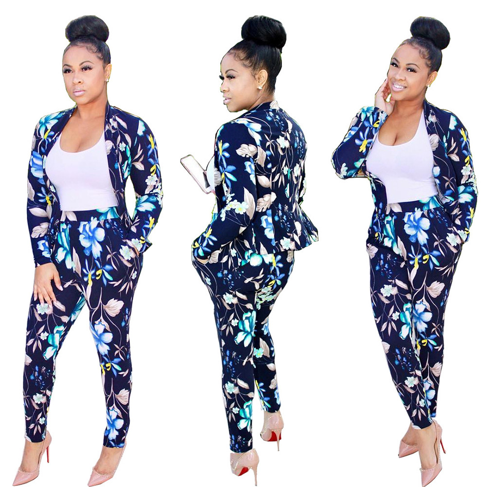 Womens 2 Piece Outfit Set Floral Printed Bomber Jacket Long Skinny Pant Sportwear