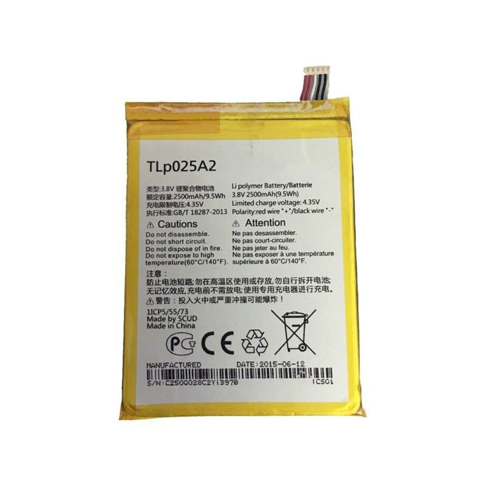 TLp025A2 Battery 2500MAH/9.5Wh 3.8V/4.35V Pack for Alcatel One Touch Scribe HD OT-8008 8008A 8008D