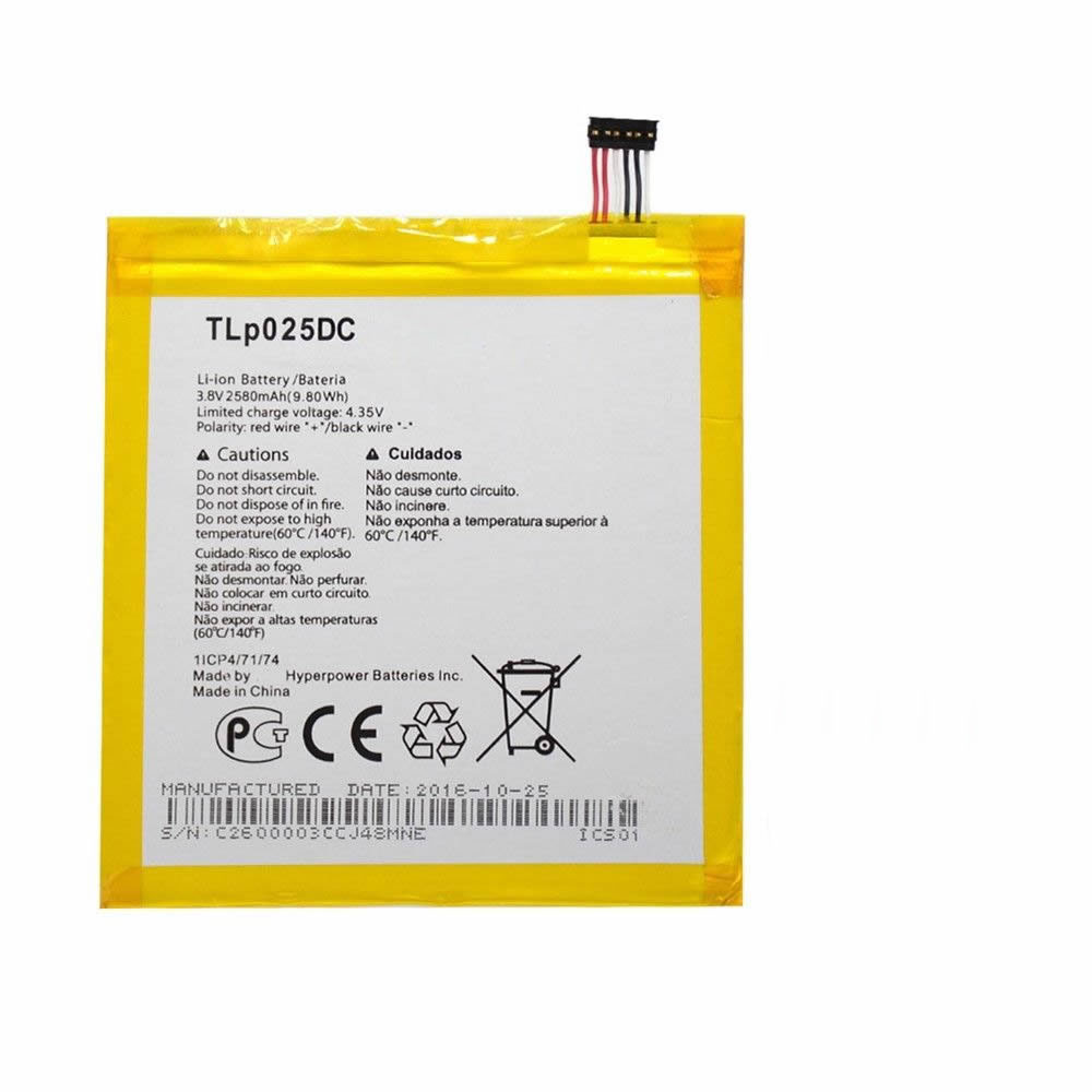 TLP025DC Battery 2580MAH/9.8Wh 3.8V/4.35V Pack for Alcatel One Touch Pixi 4 8050D 9001D
