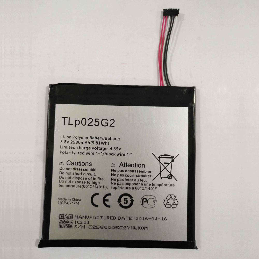 TLp025G2 Battery 2580MAH/9.8Wh 3.8V/4.35V Pack for ALCATEL OT- 9001A OT- 9001X OT-8050D OT-9003A OT-9003X