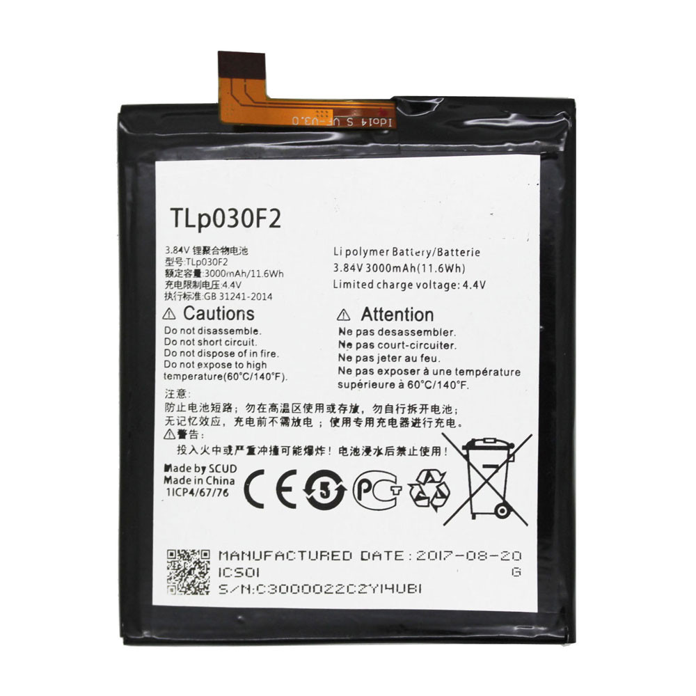 TLP030F2 Battery 3000MAH/11.6Wh 3.84V/4.4V Pack for Alcatel Onetouch 4S 6070O 6070K Y