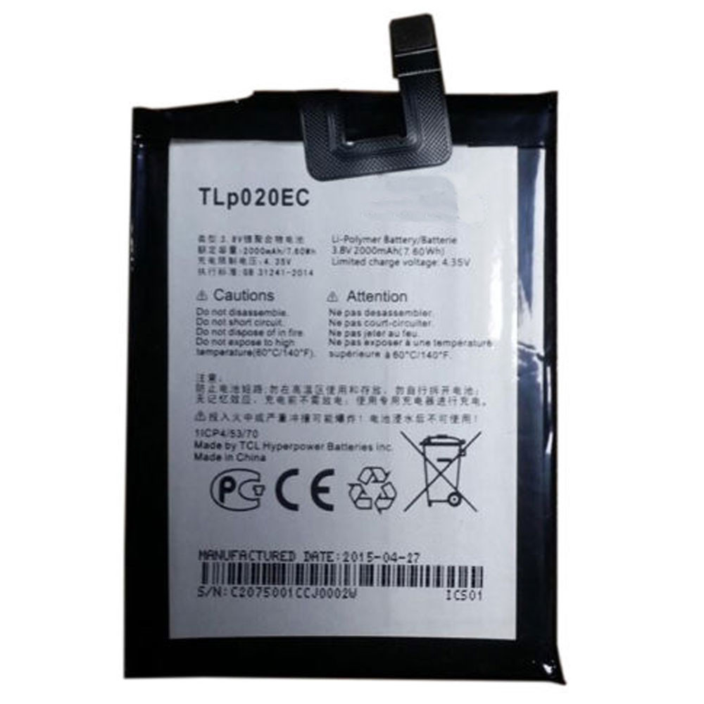 TLp020EC Battery 2000MAH/7.6Wh 3.8V/4.35V Pack for Alcatel Onetouch