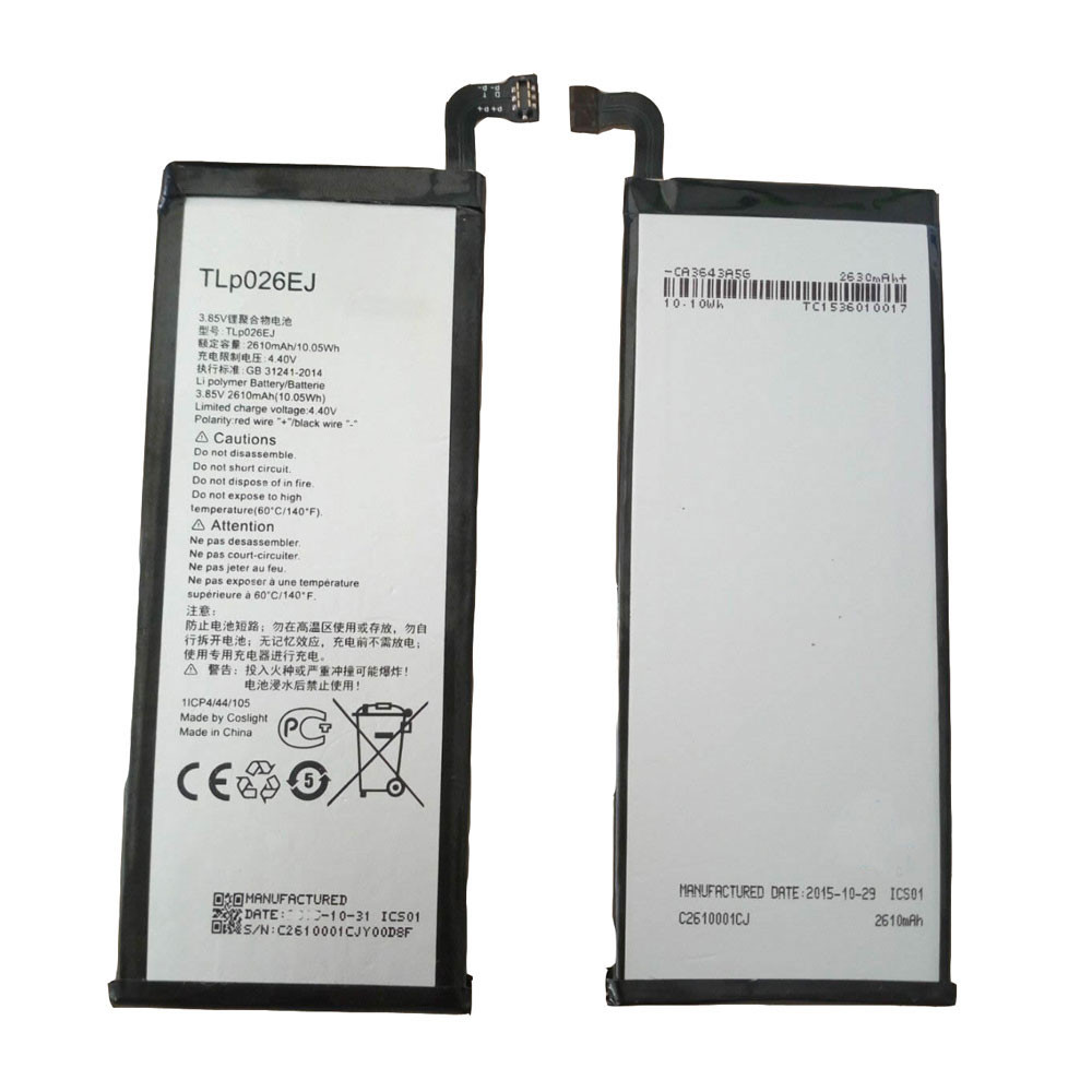 TLp026EJ Battery 2610MAH/10.05Wh 3.85V/4.4V Pack for Alcatel idol 4 OT6055 6055 6055K 6055B 6055H