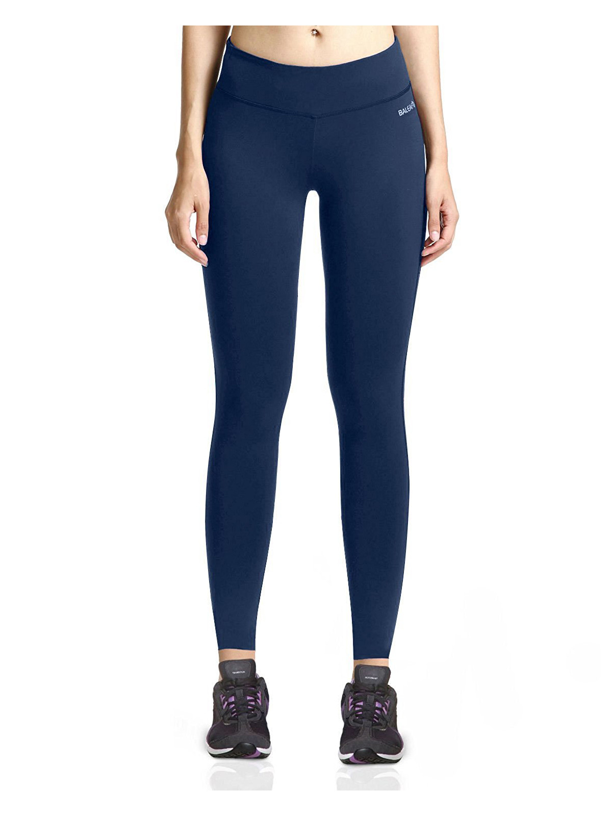 Women's Ankle Legging Inner Pocket Non See-through Fabric Dark Blue