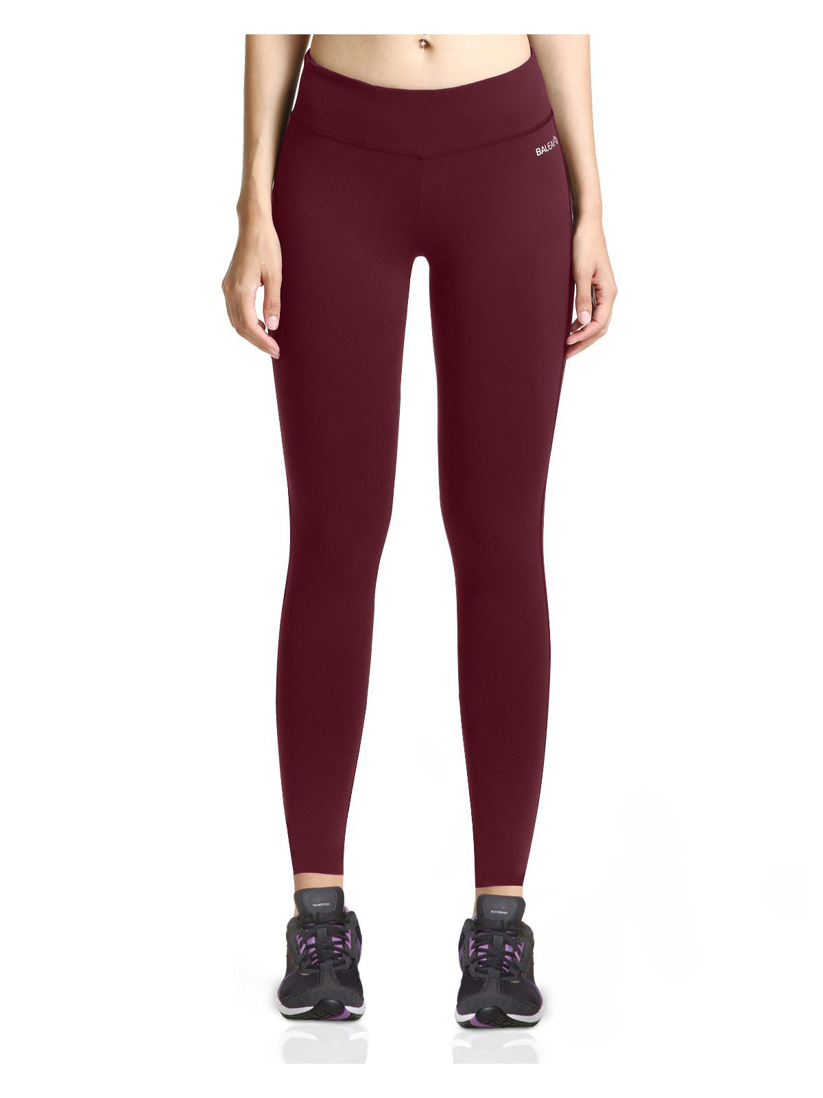 Women's Ankle Legging Inner Pocket Non See-through Fabric Ruby Wine