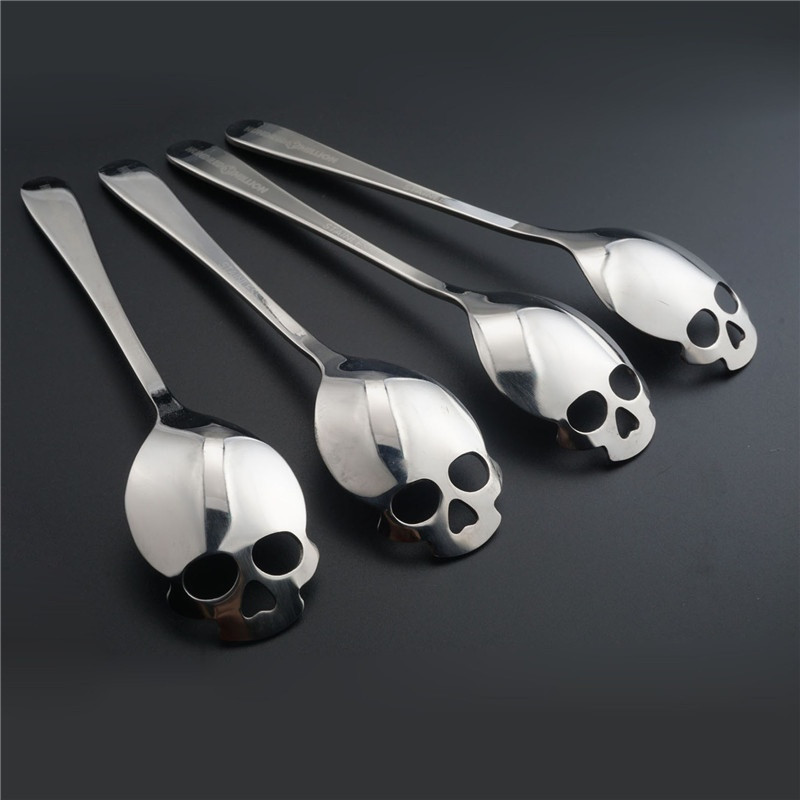 1pcs Skull Head Kitchen Utensils  Stainless Steel Spoon  Sugar Spoon Cutlery