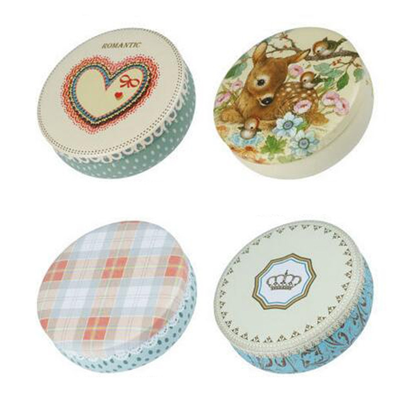 1Pc Round Candy Box Simple Colored Pattern Multi Purposes Storage Box