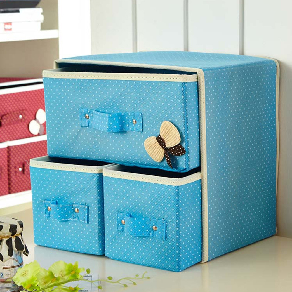 Desk Storage Box Cute Vivid Dots Pattern Large Capacity Box