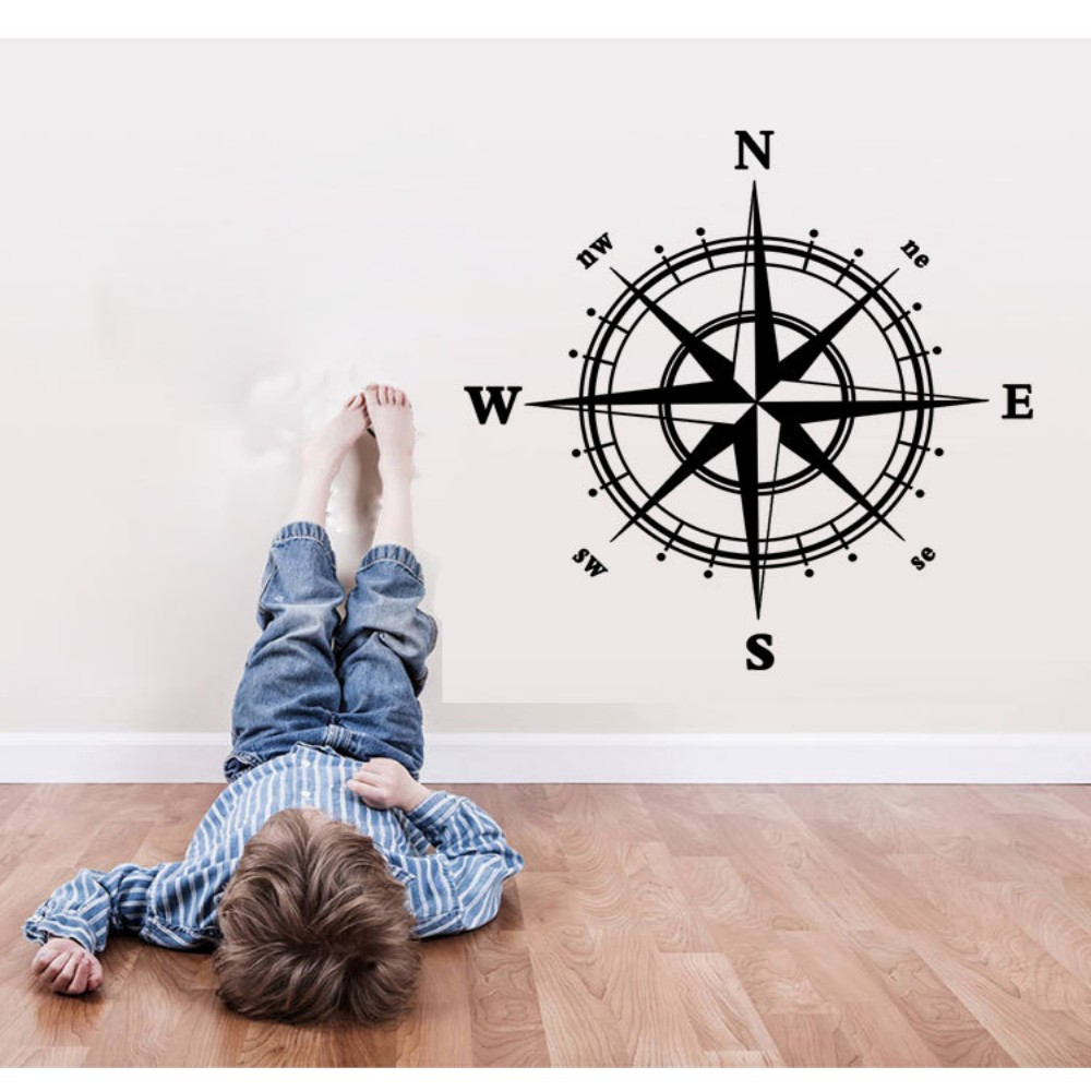 4-DIRECTION Compass Vinyl Wall Sticker for Living Room Decoration