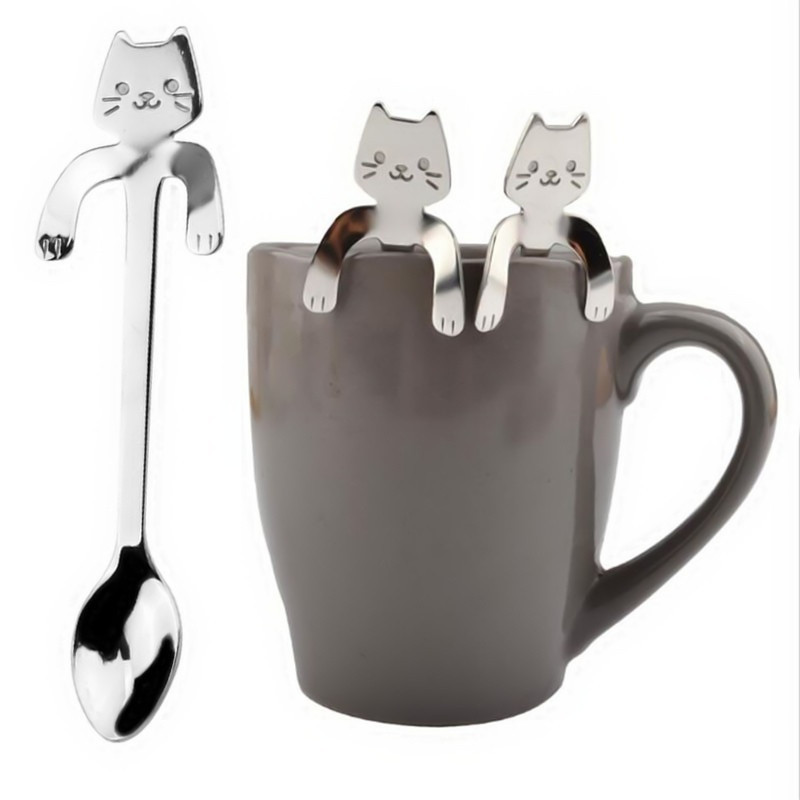 Cute Cat Spoon Long Handle Spoons Flatware Drinking Tools  Gadgets