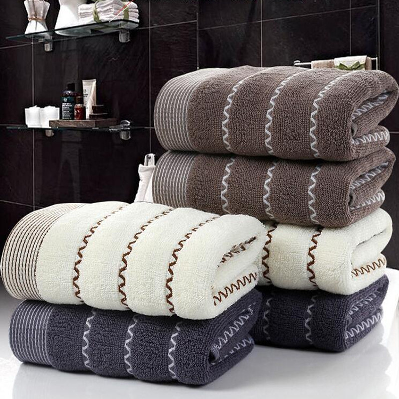 1Pc Face Towel Modern Solid Striped Pattern Comfortable Soft Washing Towels