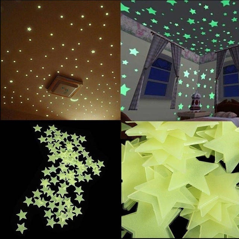 100Pcs DIY Baby Kids Home Bedroom Ceiling Dreamy Noctilucent Fluorescent  Dark Stars Wall Stickers Home
