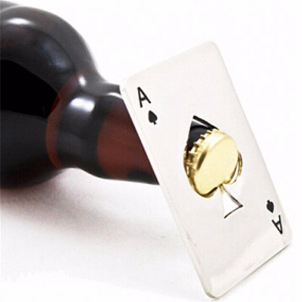 Creative Poker Card Shaped Bottle Opener Stainless Steel Beer Wine Soda Openers Bar Kitchen Tool