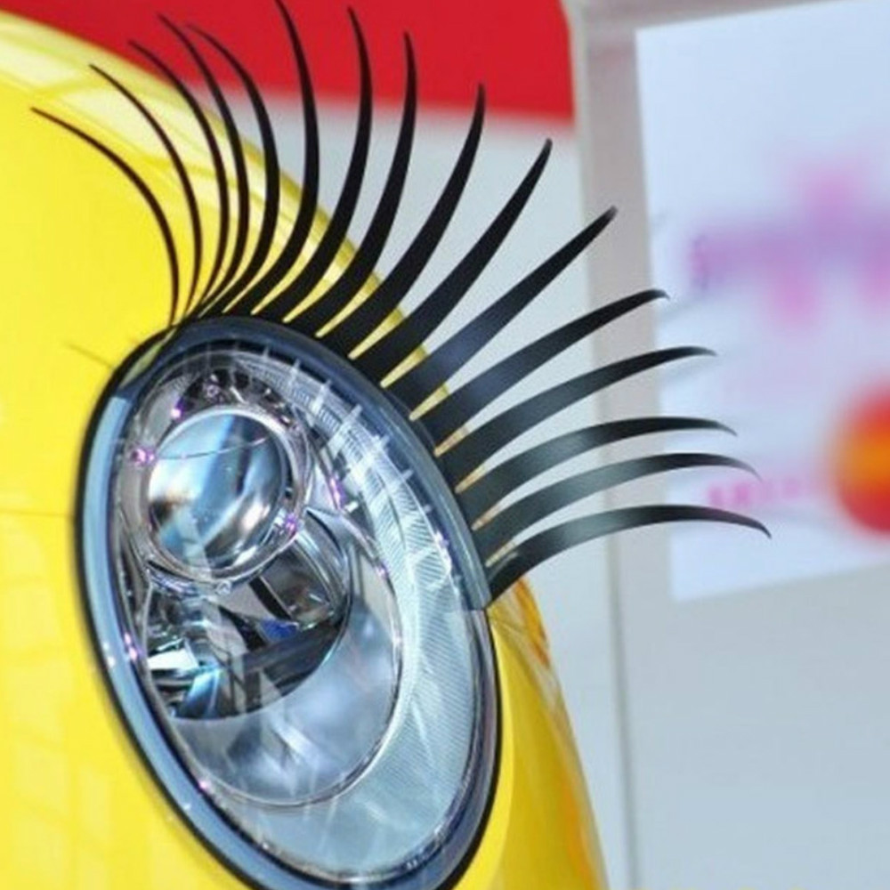 2pcs 3D Charming Black Fake Eye Lash Sticker Car Headlight Decoration Funny Decal