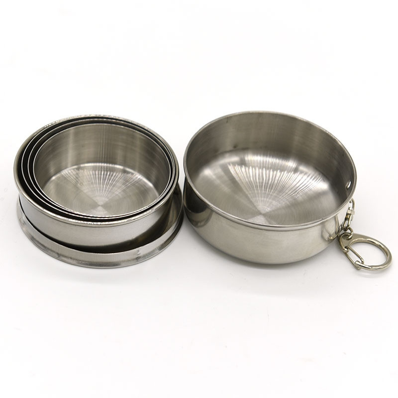 Collapsible Cup Stainless Steel Portable Folding Keychain Cups for Outdoor Travel