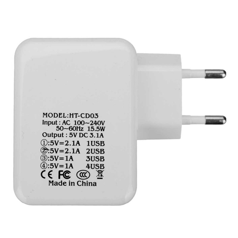 5V 3.1A 4 USB Ports AC EU Plug/ US Plug Travel Charger USB Power Charger