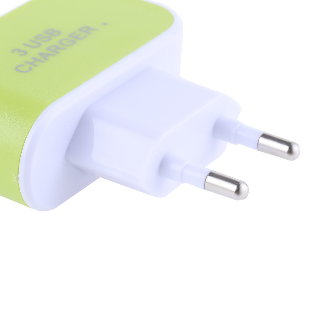 3 USB Ports Colorized Multifunctional 5V 3.1A Universal Travel Quick Charger Adapter