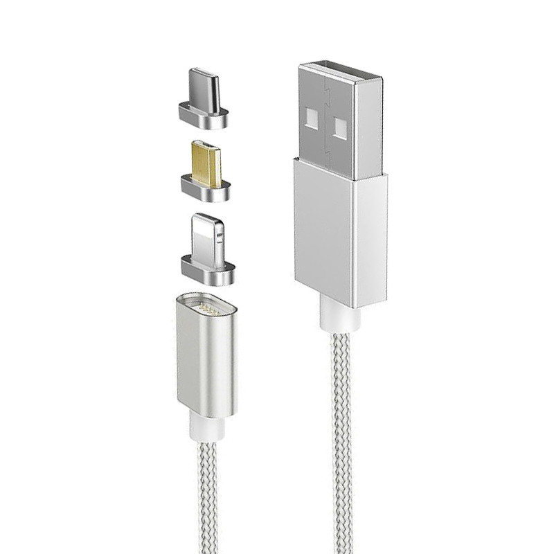 3-in-1 Magnetic Quick Charging Data Cable for Type-C 8 Pin Micro USB Devices