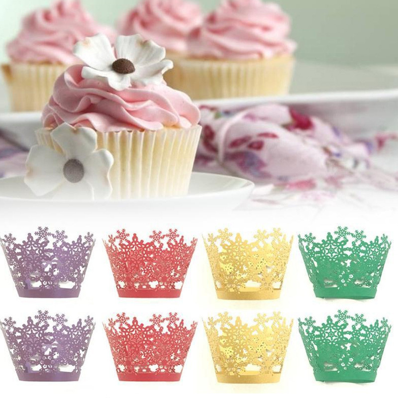 Christmas Snowflake Cake Cup for DIY Baking 12pcs