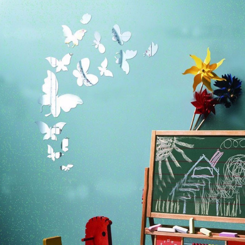 Acrylic Decorative Butterflies Shaped Mirror Stickers Wall Decoration 14pcs