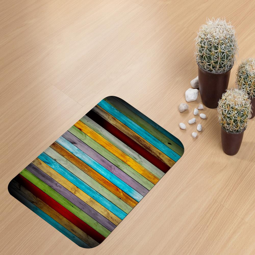 Colorful Plank Super Soft Non-Slip Bath Door Mat Machine Washable Quickly Drying