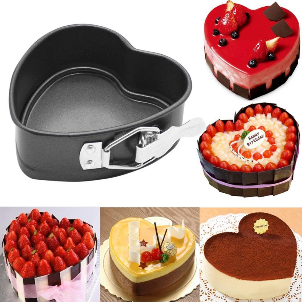 4 Inch Heart Shaped Cake Pan Tray NonStick  DIY Baking Mold with Removable Bottom and Buckle