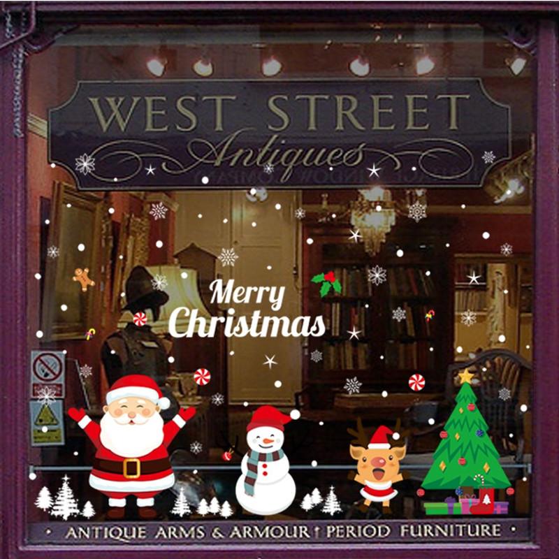 AMJ134 Christmas Cartoons PVC Window Wall Sticker