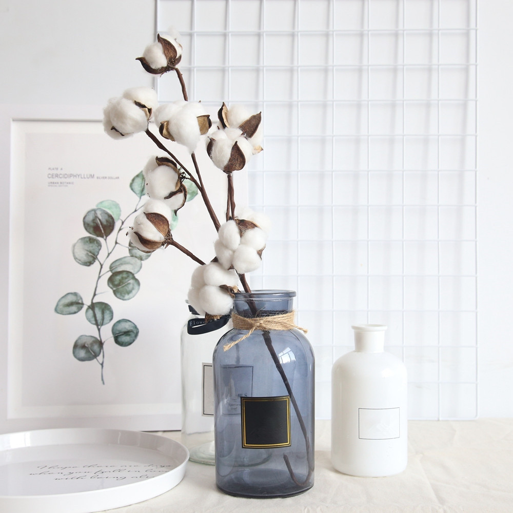 Dried Cotton Stems Farmhouse Style Artificial Flower Filler