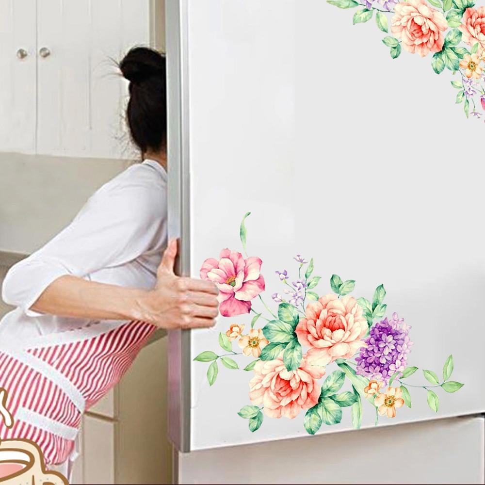 Beautiful Flowers Fridge & Toilet PVC Wall Sticker