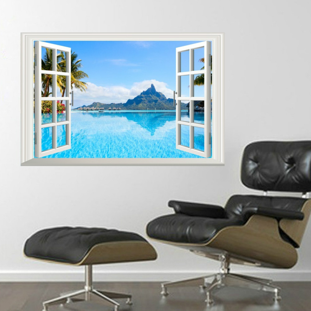 3D Window Wall Sticker  Home Decor Living Room Nature Landscape Decal