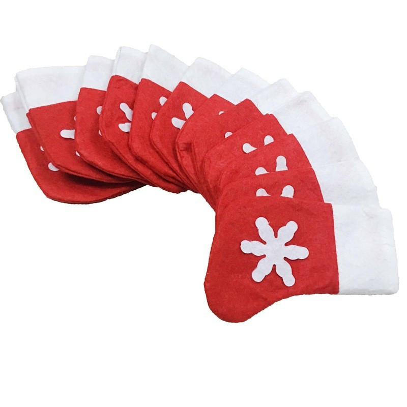 6PCS Christmas Mini Snowflake Socks Cutlery Accessories Candy Bag Home Decor