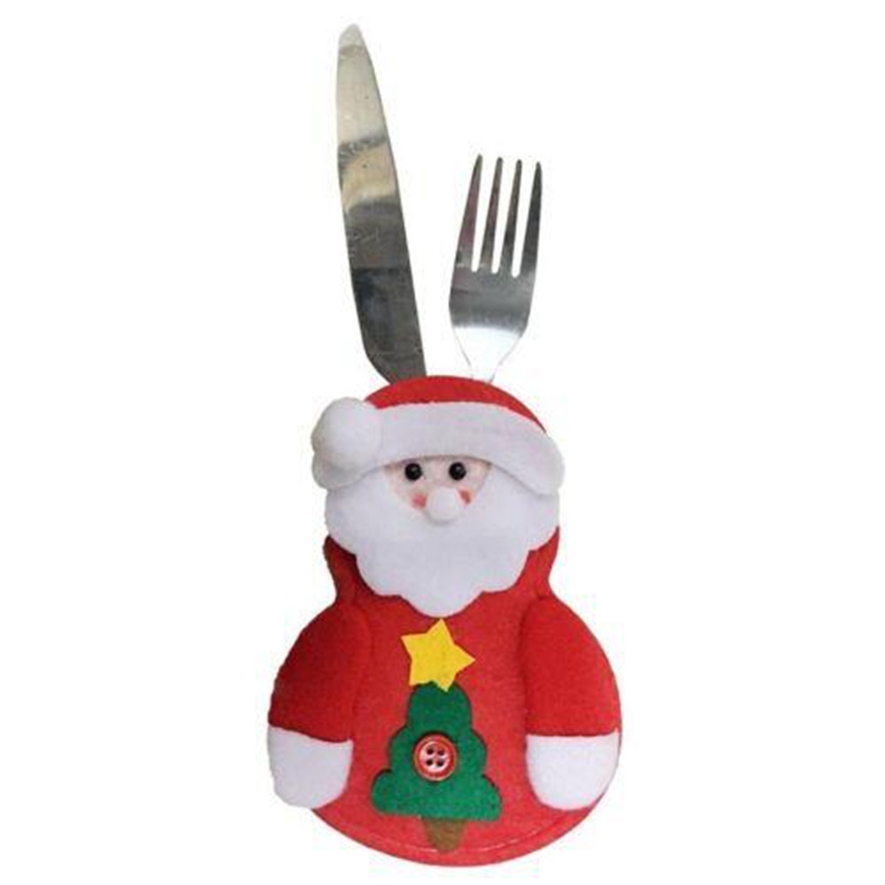 4pcs Christmas Decoration Santa Claus Snowman Elk Knife and Fork Storage Bag
